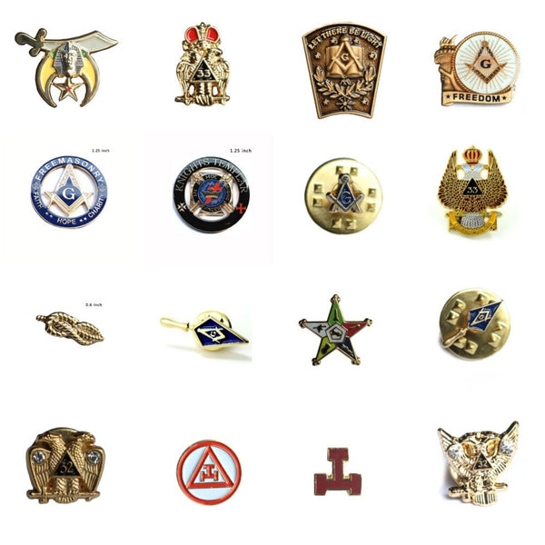Masonic Lapel Pin Freemason templar Sprig of Acacia Akasha Eastern Star Scottish Rite Trowel Cable Tow Rope Knot Mason Lapel Pin