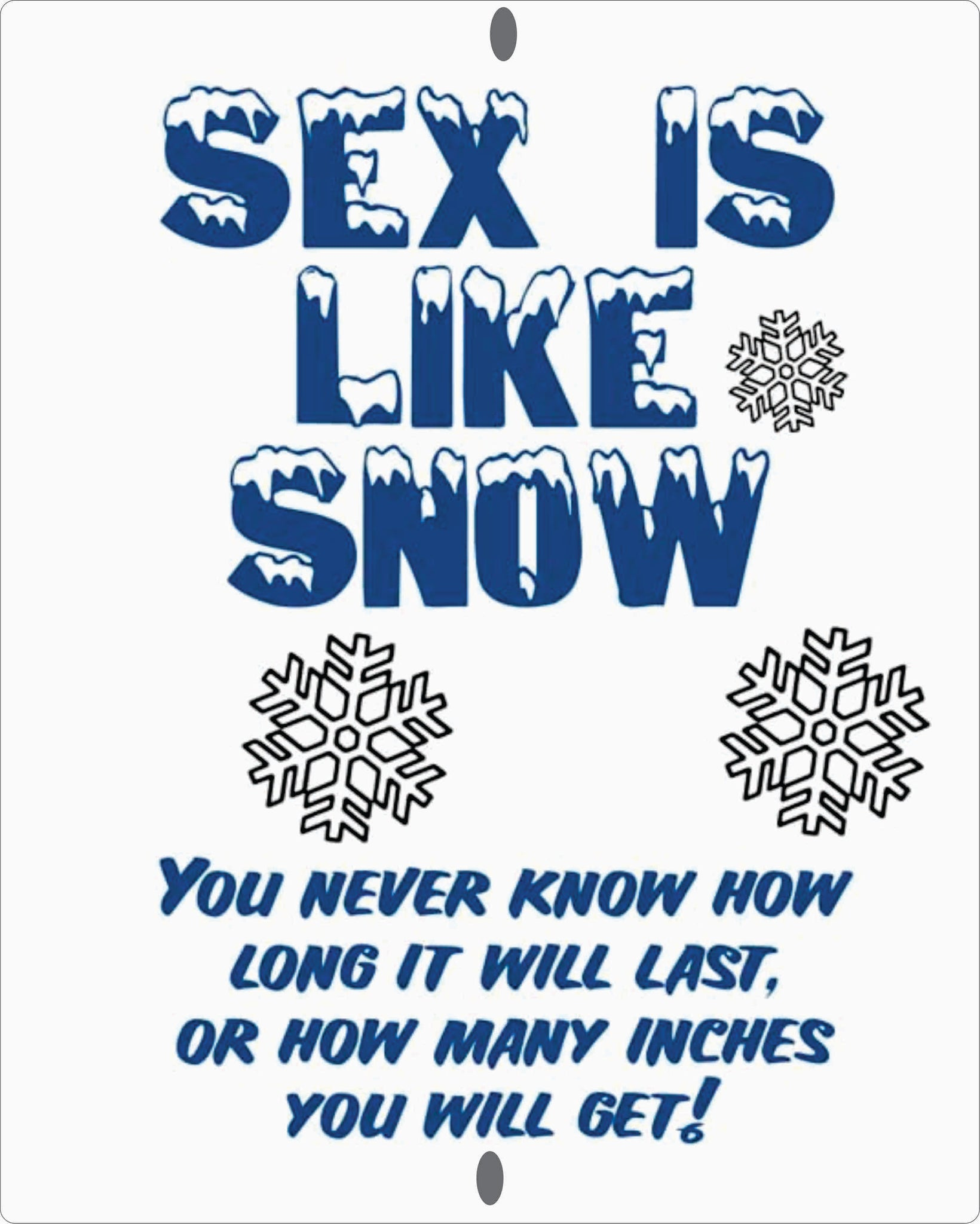 Snow is like Sex 8 X 10 inch Custom Made sign