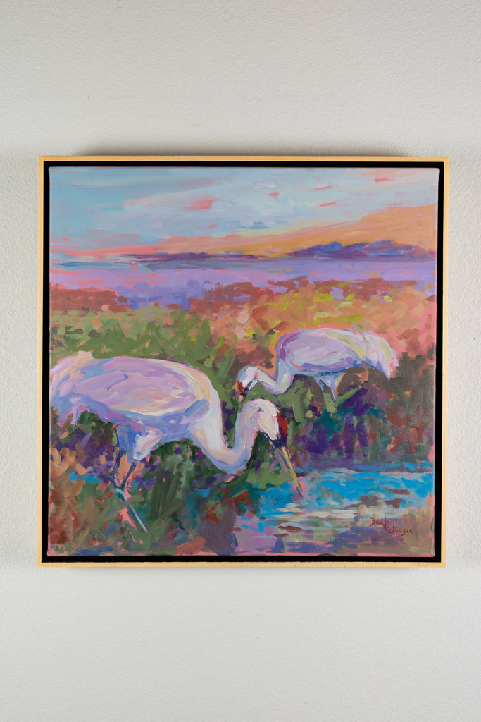 """Whooping Crane Banquet"" - Acrylic"