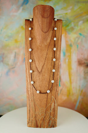 Hand Braided Leather with Freshwater Pearl