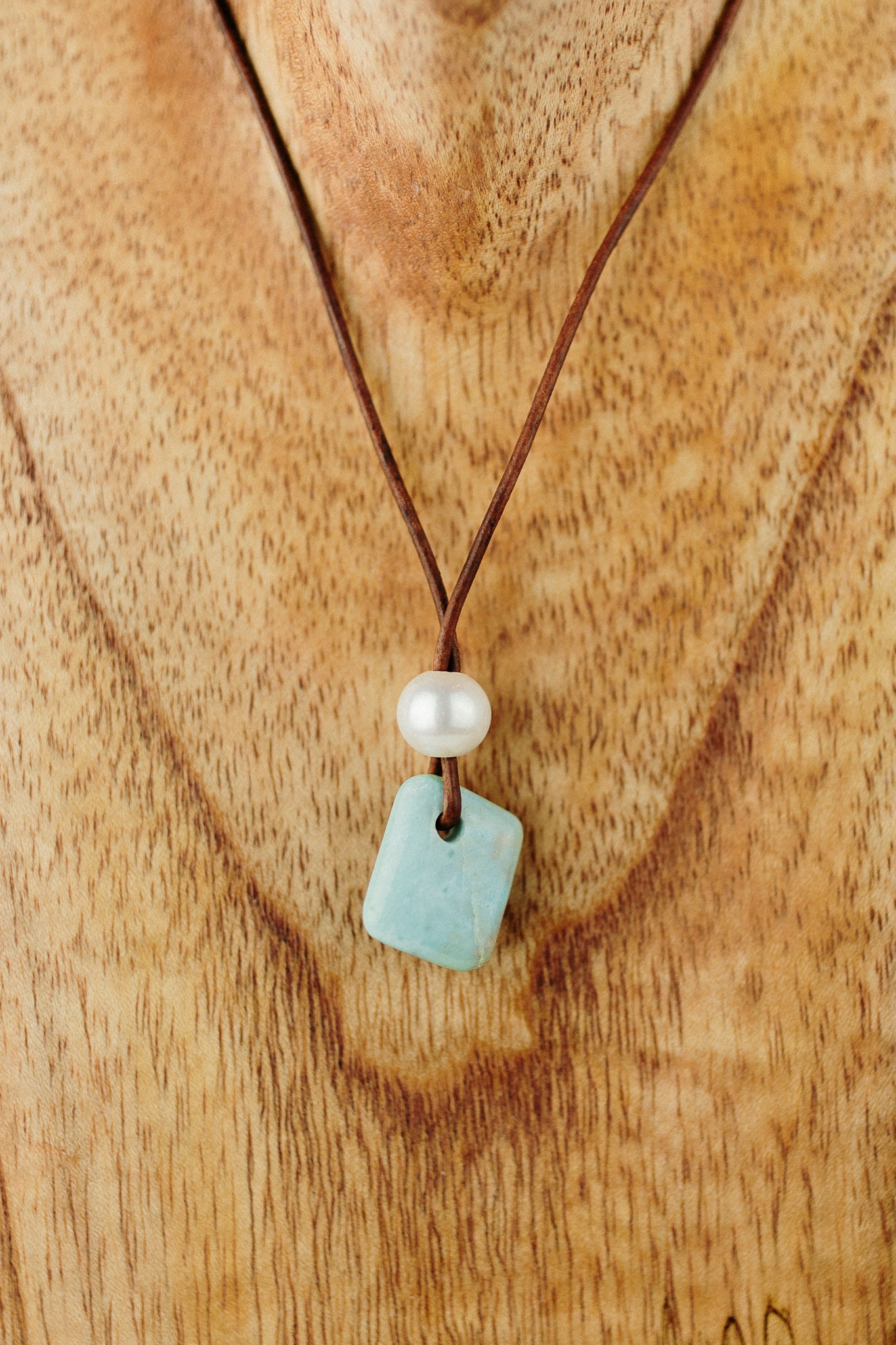 Larimar Pendant with Freshwater Pearl Accent