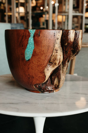Hand Carved Mesquite Bowl with Turquoise