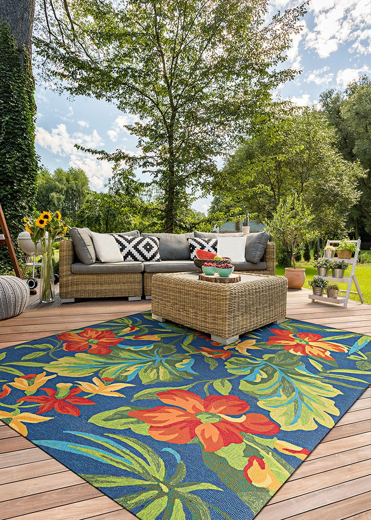 Couristan Covington Tropical Orchid Azur Forest Green Red area rug