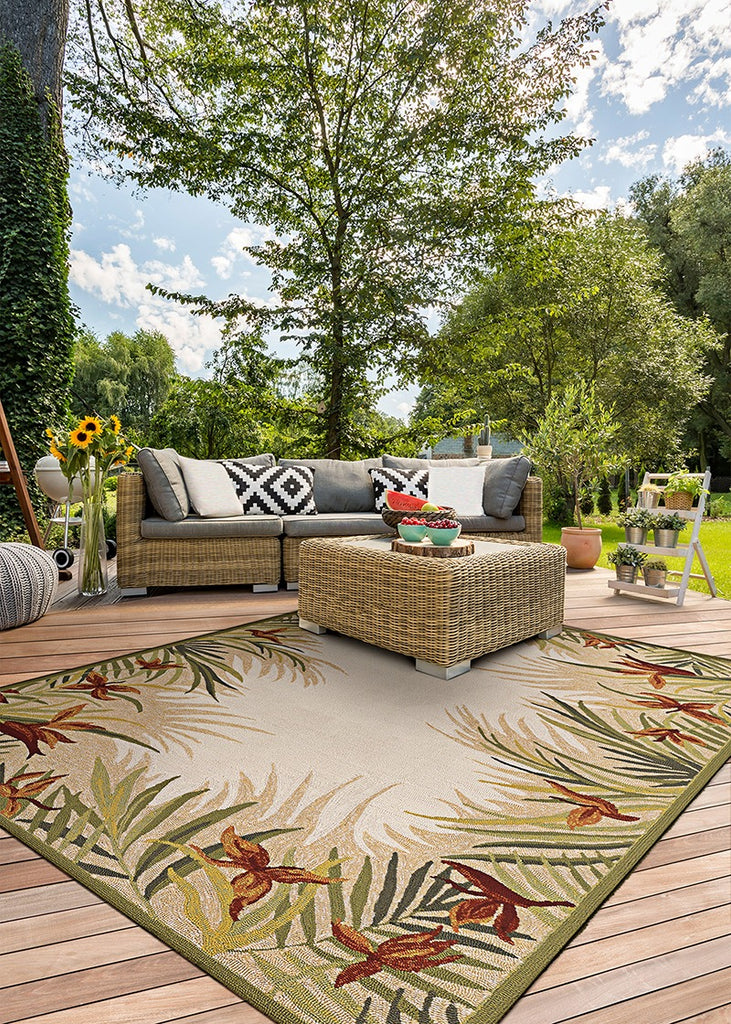 Couristan Covington Tropical Garden Sand-Multi area rug