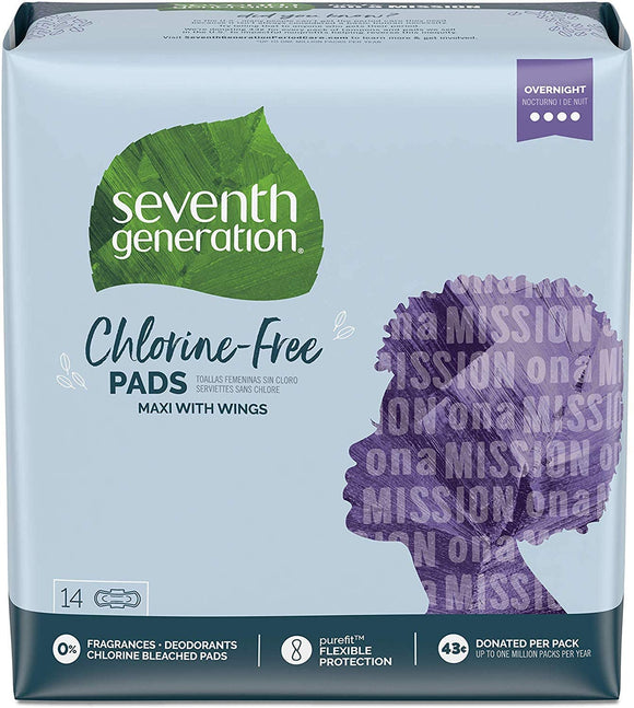Seventh Generation Chlorine-Free Maxi Pads Overnight Wings 14pcs