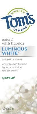 Toms Toothpaste Gluten-free Luminous White Spearmint 4.7oz
