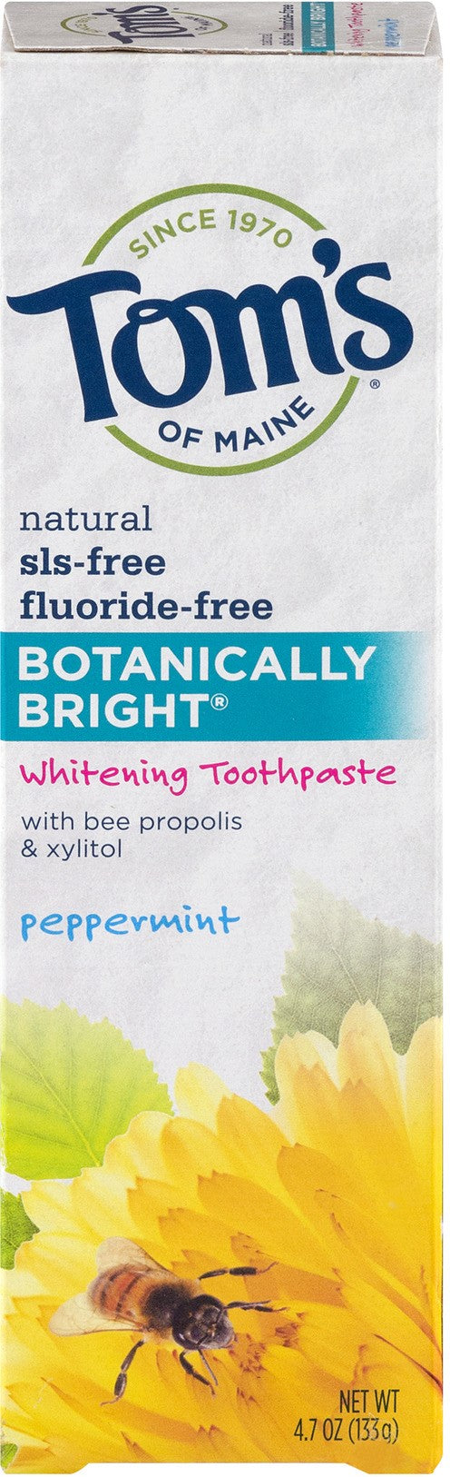 Toms Toothpaste Botanically Bright SLS Free, Fluoride Free, Peppermint 4.7oz