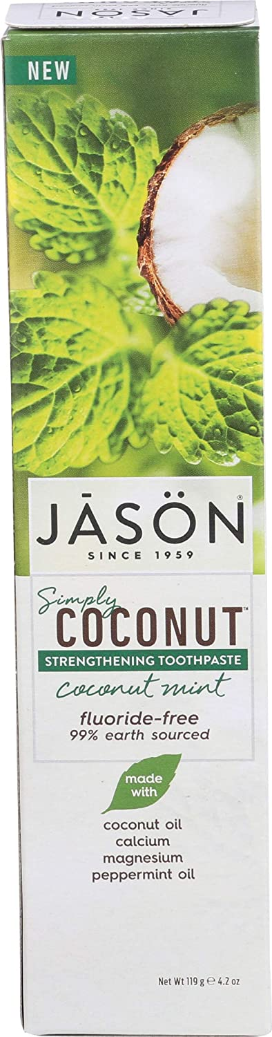 Jason Simply Coconut Strengthening Toothpaste Coconut Mint Fluoride Free 4.2oz