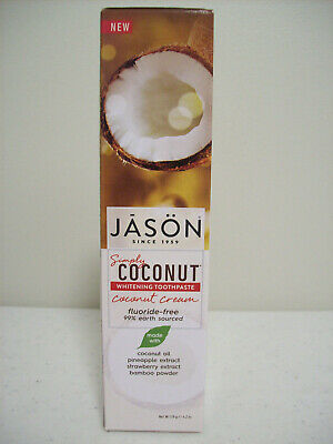 Jason Simply Coconut Whitening Toothpaste Coconut Cream Fluoride Free 4.2oz