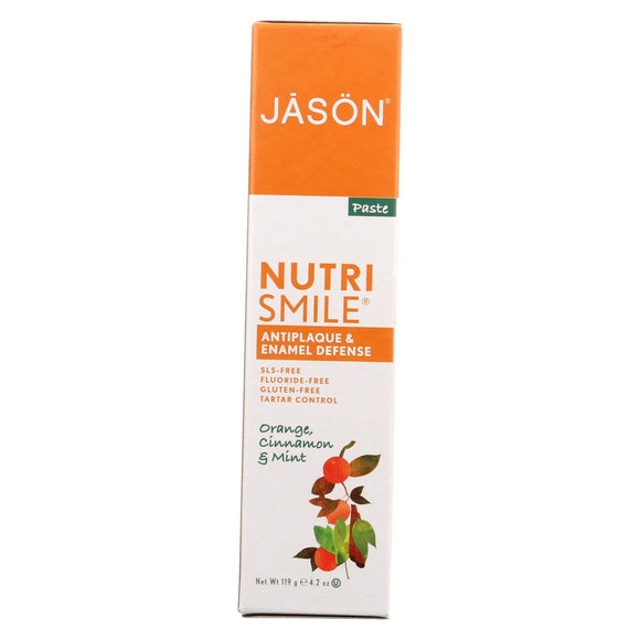 Jason Nutri Smile Antiplaque & Enamel Defense Orange Cinnamon & Mint SLS Free Fluoride Free Gluten Free 4.2oz