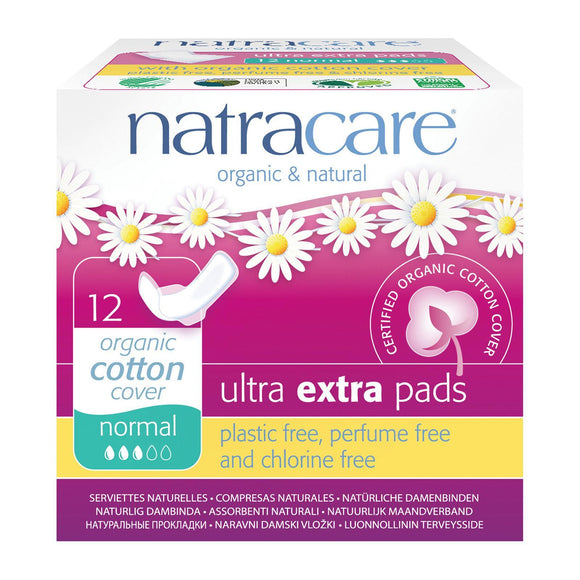 Natracare Ultra Extra Pads Normal Organic Cotton Cover 12pcs