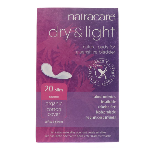 Natracare Dry & Light Natural Pads Slim Organic Cotton Cover 20pcs