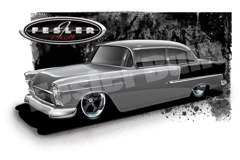 Fesler USA 1955 Chevy Gray Print