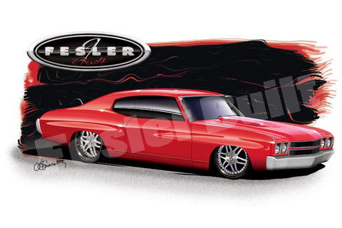 Fesler USA 1970 Chevy Chevelle Red Print