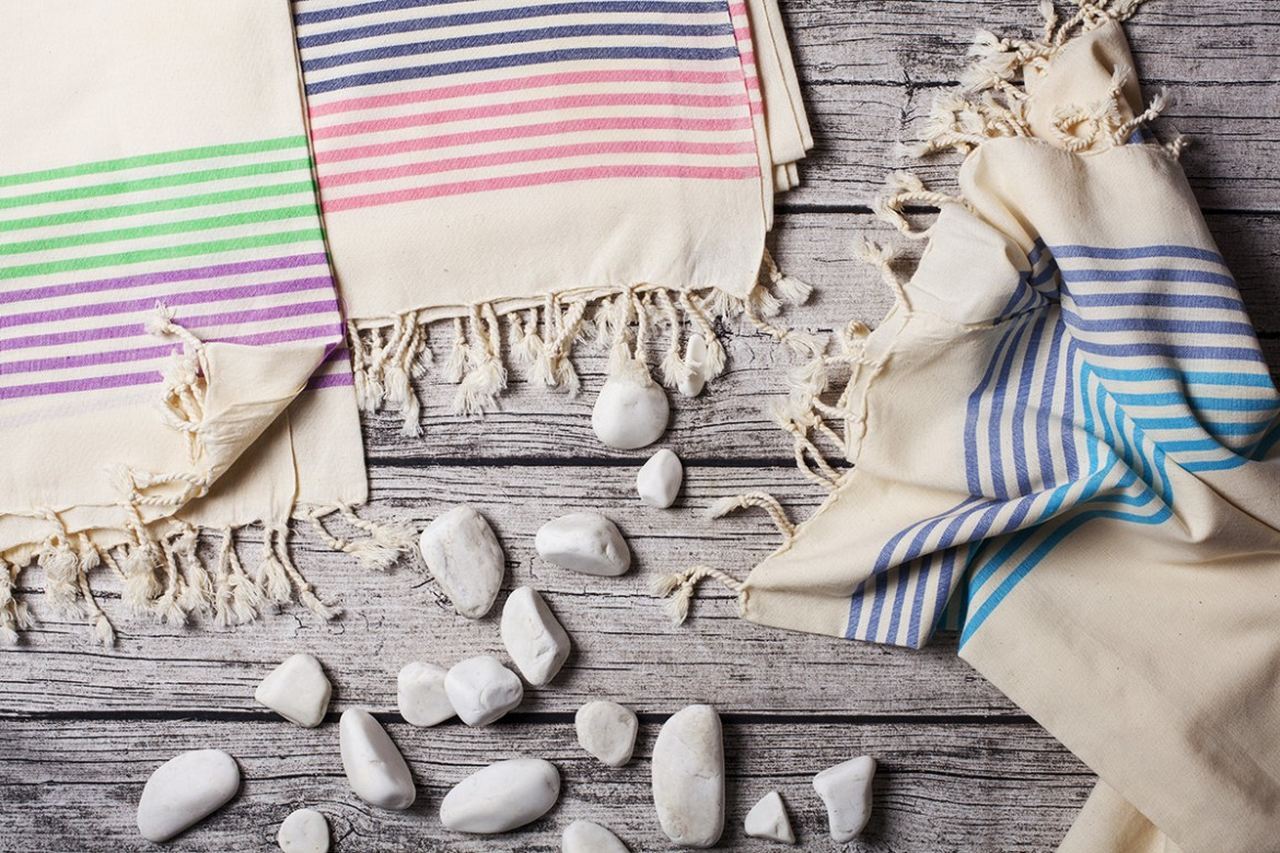 striped peshtemal towels and pebbles, peshtemal towels