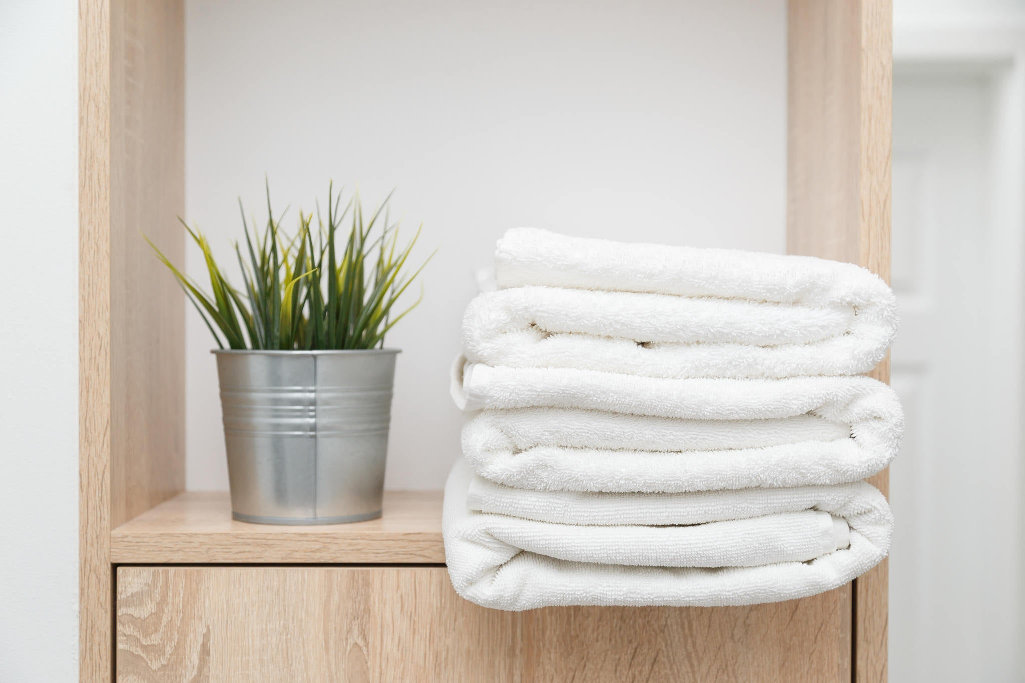 Bath towels on shelf