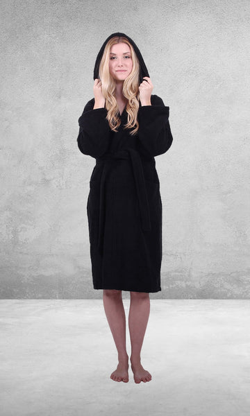 Black bathrobe hooded
