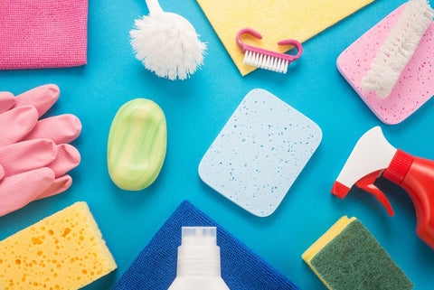 detergents, soaps, and cloths which are used for bathroom cleaning checklist