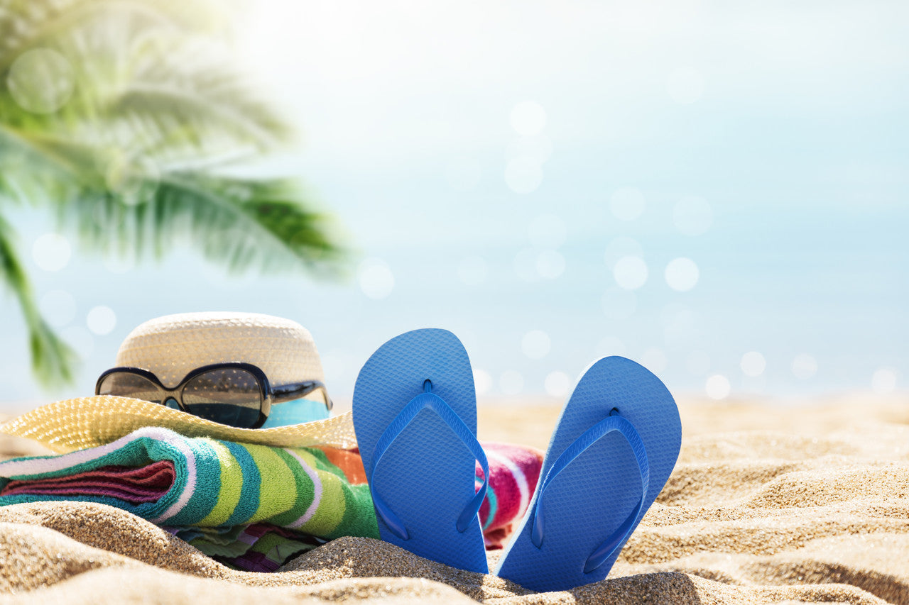 summer vacation, seaside, flip flops, hat and beach towel