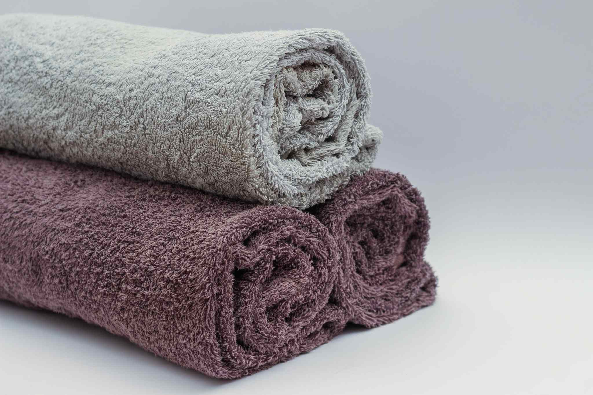 white and claret red towels, what is terry cloth