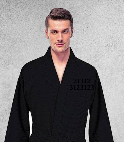 Men's Lightweight Spa Black Bathrobe, 100% Premium Cotton