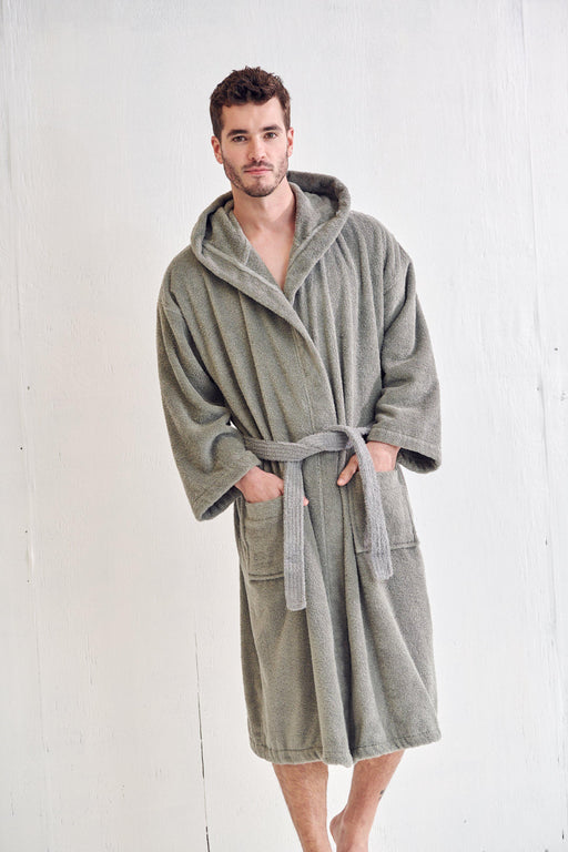 Men's Terry Cloth Gray Bathrobe, Hooded