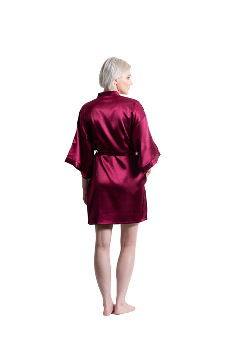 Wine Red Satin Kimono Short Robe