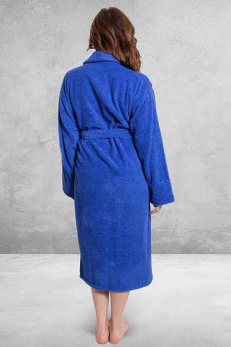 Women's Terry Shawl Royal Blue Bathrobe