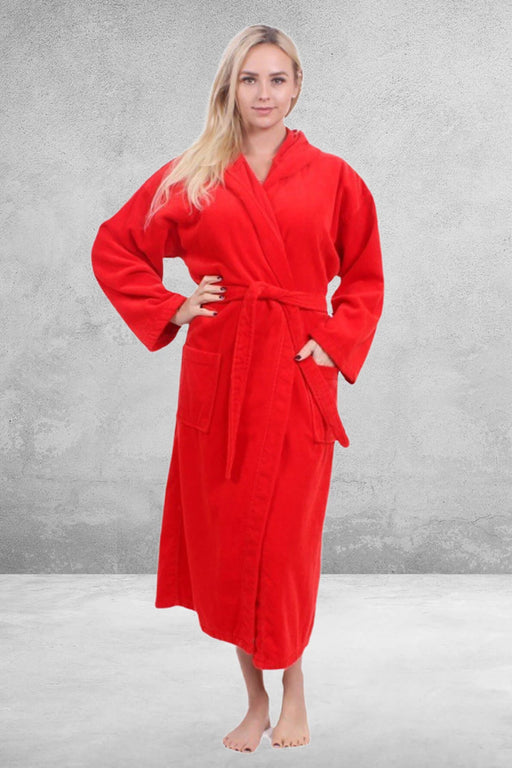 Women's Velour Terry Red Bathrobe, Hooded