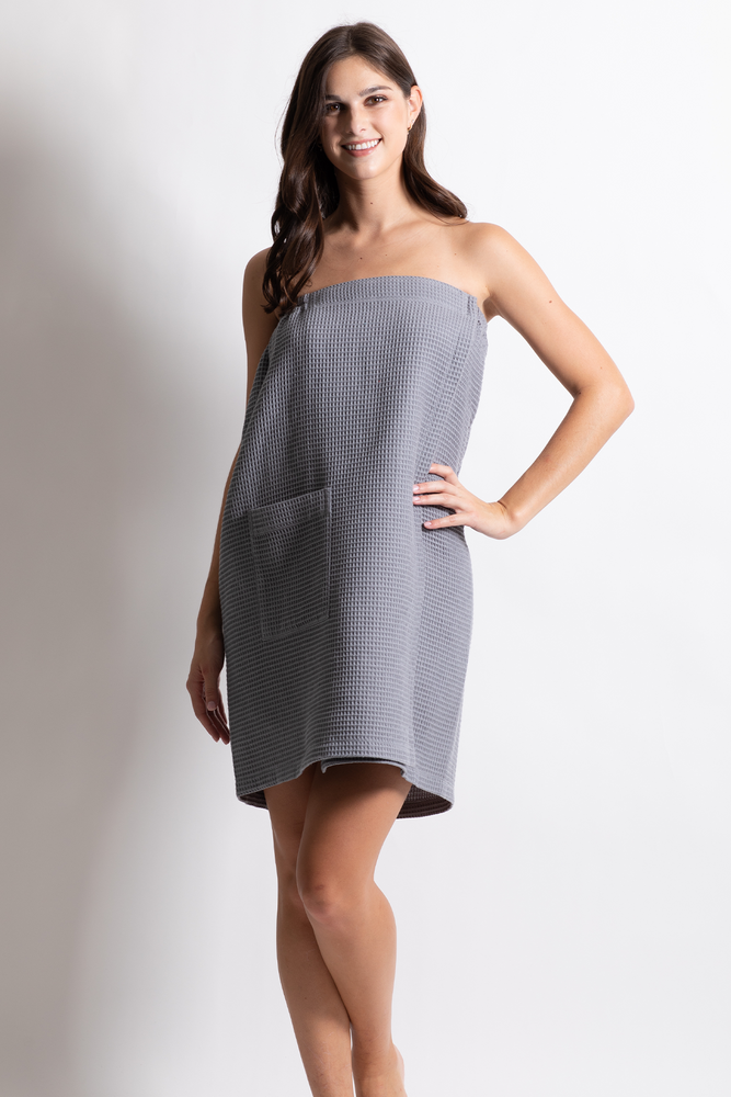 Women's Waffle Body Wrap, Adjustable Gray