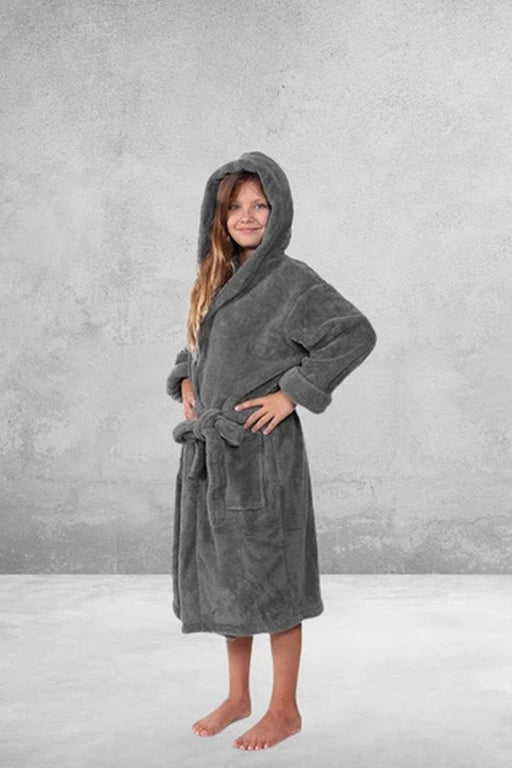 Kid's Flecee with Hooded Solid Charcoal Bathrobe