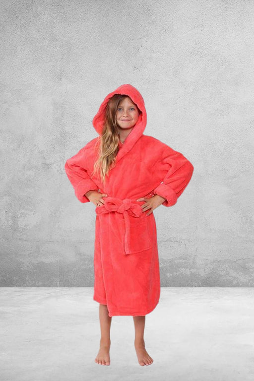 Kid's Flecee with Hooded Solid Coral Bathrobe