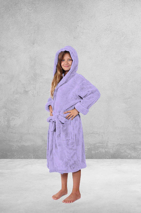 Kid's Flecee with Hooded Solid Lavender Bathrobe