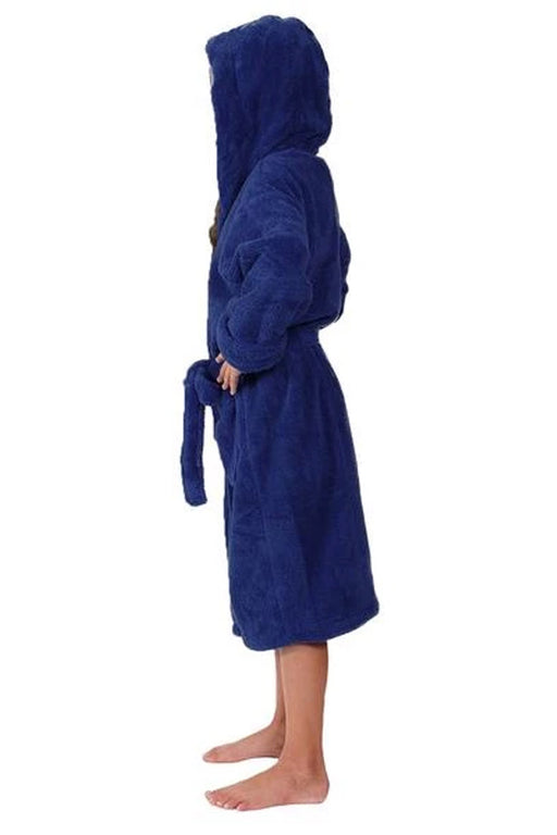 Kid's Flecee with Hooded Solid Navy Bathrobe