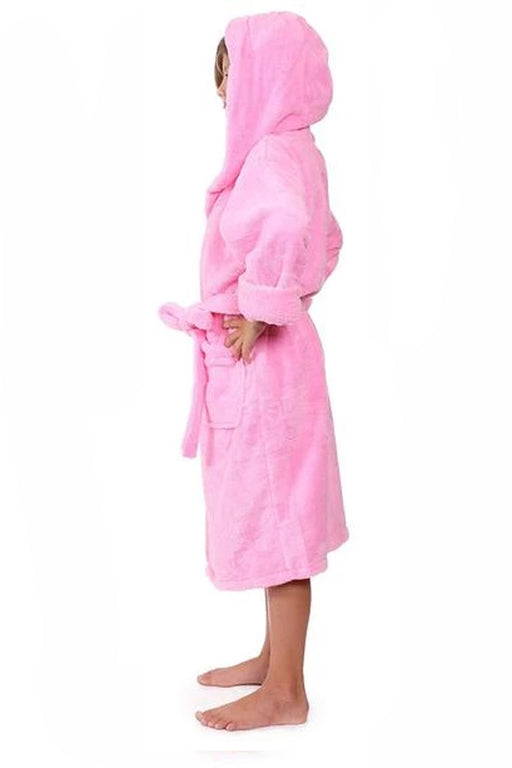 Kid's Flecee with Hooded Solid Pink Bathrobe