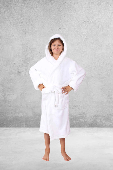 Kid's Flecee with Hooded Solid White Bathrobe