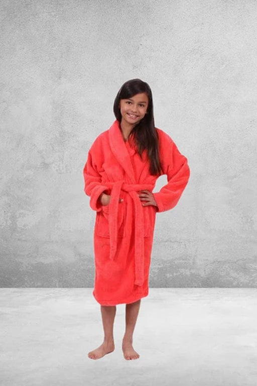Kid's Plush Micro-Fleece Coral Bathrobe, Shawl Collar