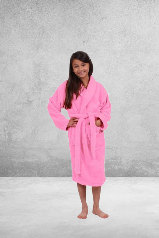 Kid's Plush Micro-Fleece Pink Bathrobe, Shawl Collar