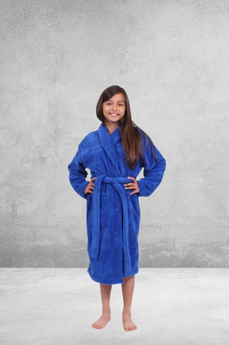 Kid's Plush Micro-Fleece Royal Blue Bathrobe, Shawl Collar