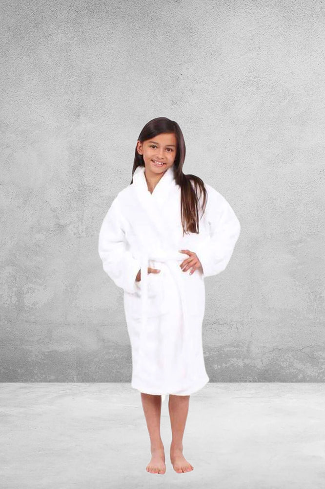 Kid's Plush Micro-Fleece White Bathrobe, Shawl Collar