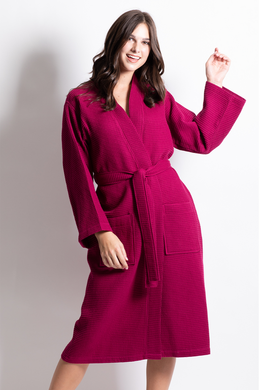 Premium Waffle robe long, Polyblend wine red