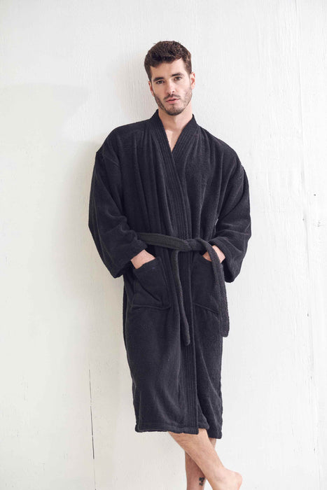 Men's Terry Black Bathrobe, Kimono Style