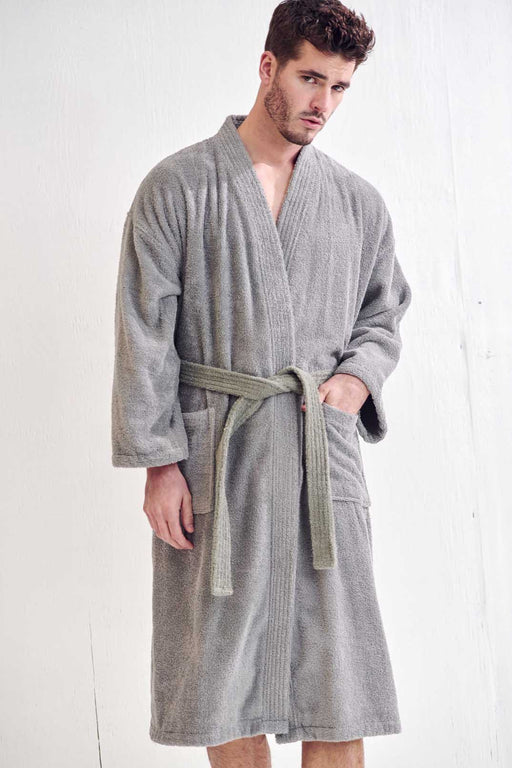 Men's Terry Gray Bathrobe, Kimono Style