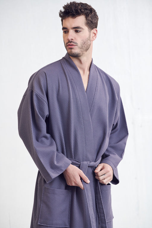 Men's Spa Bathrobe, Gray