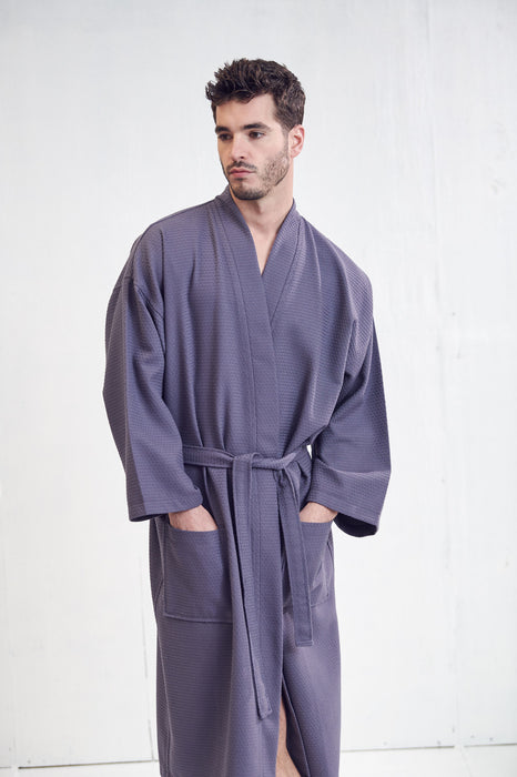 Men's Lightweight Spa Gray Bathrobe, 100% Premium Cotton