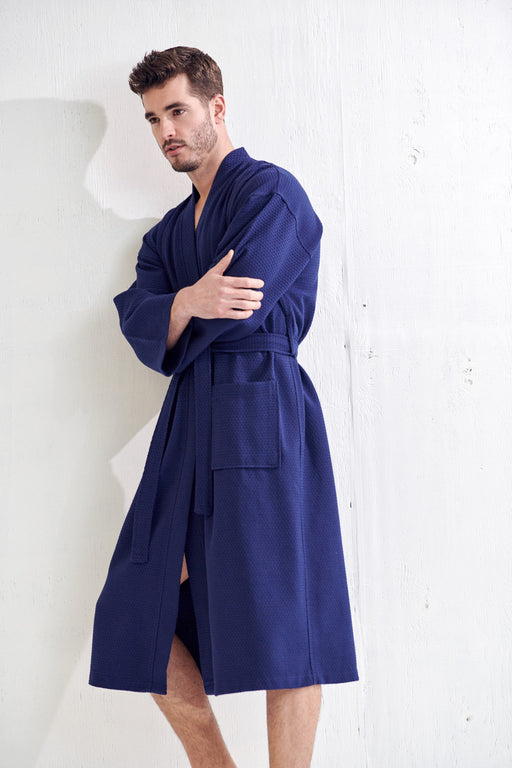 Men's Lightweight Spa Navy Bathrobe, 100% Premium Cotton