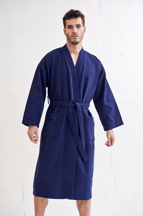 Men's Spa Bathrobe, Navy