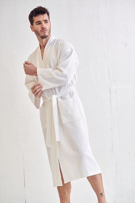 Men's Lightweight Spa White Bathrobe, 100% Premium Cotton