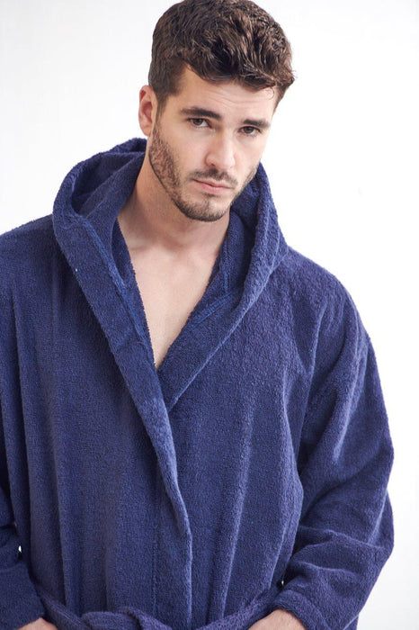Men's Terry Cloth Navy Bathrobe, Hooded