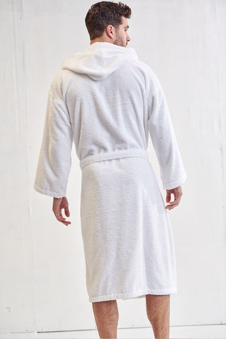 Men's Terry Cloth White Bathrobe, Hooded